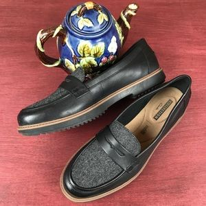 Clarks Raisie Eletta Tweed Leather Penny Loafer